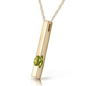 14K. SOLID GOLD NECKLACE WITH NATURAL PERIDOT